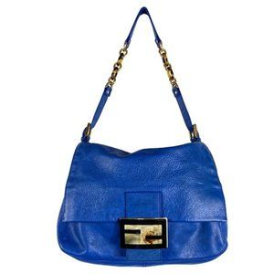 Fendi Big Mama Blue Leather Bag